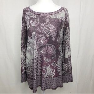 Dress Barn Tunic Top, Size Large, Gray and Purple